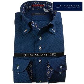 ドレスシャツ ワイシャツ シャツ メンズ 国産 長袖 ボタンダウン コンフォート 綿100% 紺 ネイビー ジャガード織ダイアチェック ピンドット fs3gm 【202011】