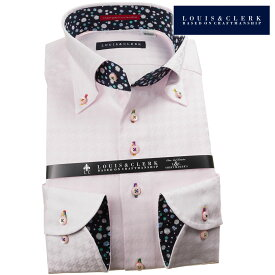 国産長袖綿100%ドレスシャツ コンフォート ボタンダウンカラー ライトピンクパープルジャガード織千鳥格子柄 1908メンズ fs3gm