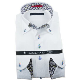 ドレスシャツ ワイシャツ シャツ メンズ 国産 長袖 純綿100% コンフォート ボタンダウン ホワイト ジャガード織まだら花柄風ドット 1911 fs3gm 【202011】