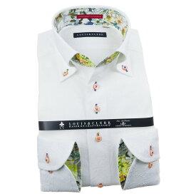 ドレスシャツ ワイシャツ シャツ メンズ 国産 長袖 純綿100% コンフォート ボタンダウン ホワイト 刺繍 オーバーフラワー 花柄 1911 fs3gm