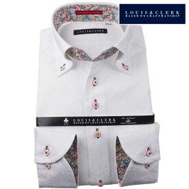 国産長袖純綿ドレスシャツ コンフォート ボタンダウン ホワイト ジャガード織まだら花柄風ドット 1910メンズ fs3gm