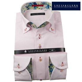 国産長袖純綿ドレスシャツ コンフォート ボタンダウン パステルピンク ジャガード織まだらドット柄 1910メンズ fs3gm