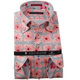 ドレスシャツ ワイシャツ シャツ メンズ 国産 長袖 純綿100% コンフォート ボタンダウン 四弁花パターンプリント ピンク グレー 1910 fs3gm 【DEAL】