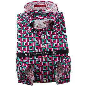国産長袖純綿ドレスシャツ コンフォート ボタンダウン 和風幾何柄プリント 黒 赤紫 薄紫 青緑 1910メンズ fs3gm