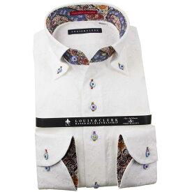 国産長袖綿100%ドレスシャツ コンフォート ボタンダウンカラー 白 ホワイト レース ヘキサゴン フラワーメンズ fs3gm