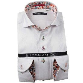 国産長袖純綿ドレスシャツ コンフォート カッタウェイワイド ライトグレー ジャガードデザインブロックチェックメンズ fs3gm
