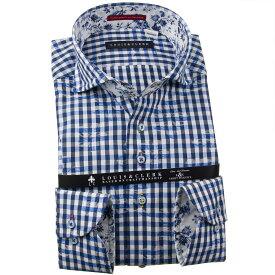 ドレスシャツ ワイシャツ シャツ メンズ 国産 長袖 純綿100% コンフォート カッタウェイワイド ギンガムチェック&フラワージャガード ホワイト ネイビー ブルー 1910 fs3gm 【DEAL】