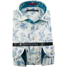 ドレスシャツ ワイシャツ シャツ メンズ 国産 長袖 純綿100% コンフォート カッタウェイワイド オフホワイト スカイブルー手書き風花柄プリント 1910 fs3gm 【DEAL】