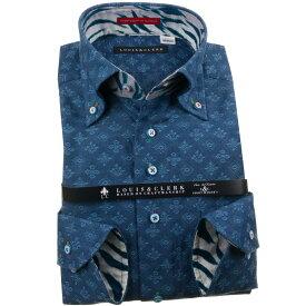 ドレスシャツ ワイシャツ シャツ メンズ 国産 長袖 純綿100% コンフォート ボタンダウンカラー ネイビーブルー ジャガード 紋章 紋柄 エンブレム 1910 fs3gm 【DEAL】