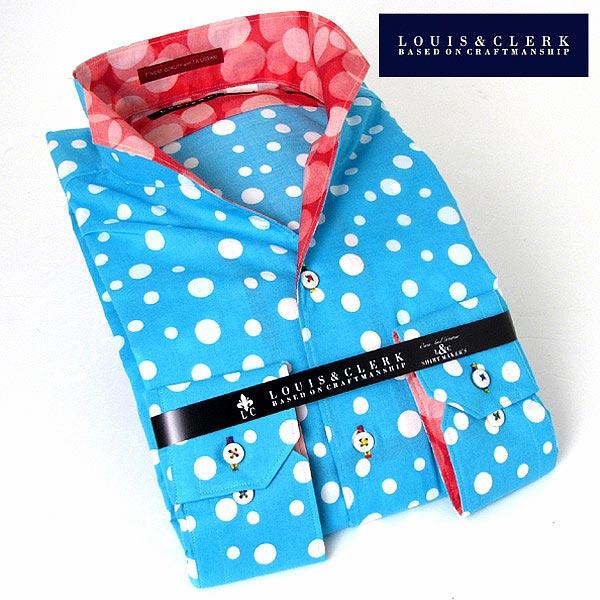 1509 長袖ドレスシャツ イタリアンススキッパースタント 綿100 スカイブルー・ホワイトシャワースポットプリント fs3gm