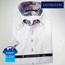 1607 国産半袖ドレスシャツ ドゥエボットーニボタンダウン 綿100 ホワイトジャガードドクロ・髑髏ドット柄メンズ fs3gm
