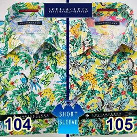 1607 綿麻国産半袖ドレス・アロハシャツ ワンピースワイドカラー トロピカルバナナ柄プリント 2色展開メンズ fs3gm 派手 個性的 オシャレ