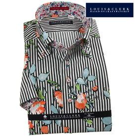 国産半袖純綿ドレスシャツ コンフォート ボタンダウン ブラックロンドンストライプ+フラワープリント 1906メンズ 派手 個性的 オシャレ