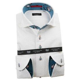 ドレスシャツ ワイシャツ シャツ メンズ 国産 長袖 綿100% コンフォート カッタウェイワイド ホワイト 刺繍生地 花 太陽 渦 1912 210218
