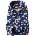 国産長袖綿100%ドレスシャツ 胸ポケット無 着丈短め コンフォート ボタンダウン ドビー織 プリント柄 和柄 …