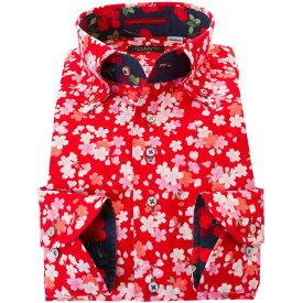 C-ドレスシャツ カジュアル シャツ メンズ 国産 長袖 ボタンダウン ちりめん 胸ポケット無 着丈短め 和柄生地プリント 赤 桜