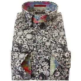 C-ドレスシャツ カジュアル シャツ メンズ 国産 長袖 綿100% コンフォート 胸ポケット無 着丈短め ボタンダウン モノトーンフラワープリント ボタニカル 210218