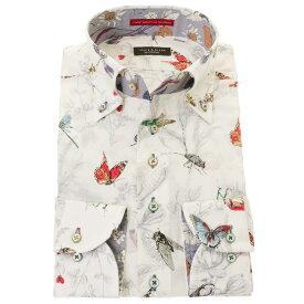国産長袖ドレスシャツ  コンフォート ボタンダウン 総柄プリント 着丈短め 胸ポケット無 ホワイト 昆虫 枝葉 メンズ