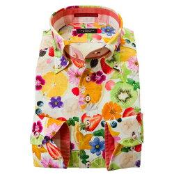 国産長袖綿100%ドレスシャツ コンフォート ボタンダウン フルーツ 果物 花 カラフル ポップ 胸ポケット有