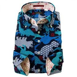 国産長袖綿100%ドレスシャツ  コンフォート ボタンダウン バニラン織 変わり織 ホワイト ブルー 恐竜 動物 和柄 ポケット有