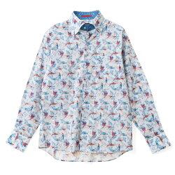 国産長袖綿100%ドレスシャツ コンフォート ボタンダウン プリント ブルー オウム 鳥 葉 リーフ  胸ポケット有