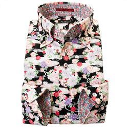 国産長袖綿100%ドレスシャツ 着丈短め コンフォート ボタンダウン ドビー織 プリント 和柄 花柄 和風 胸ポケット有