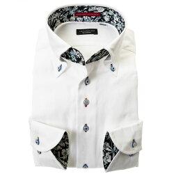 国産綿100%長袖ドレスシャツ コンフォート ボタンダウン ホワイト ジャガード織 蔦柄 唐草模様 ストライプ 胸ポケット有