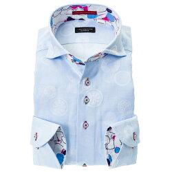 国産綿100%長袖ドレスシャツ カッタウェイ ワイドカラー コンフォート スカイブルー ジャガード織 リングパターン 断面 野菜 フルーツ 果物  胸ポケット有