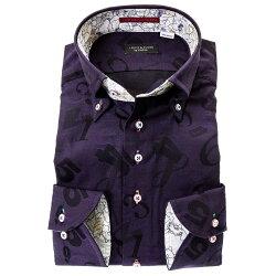 国産長袖ドレスシャツ 綿100% コンフォート ボタンダウン パープル 紫 ジャガード織柄 数字 ナンバー 胸ポケット有