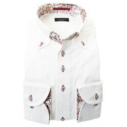 国産綿100%長袖ドレスシャツ ボタンダウン コンフォート ホワイト 白 ジャガード織柄 モザイクチェック 和柄 胸ポケット有