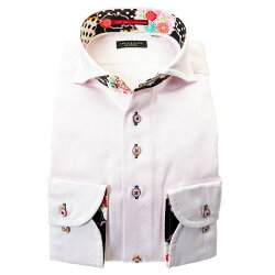 国産長袖綿100%ドレスシャツ カッタウェイワイド コンフォート ピンク ジャガード織柄 花 蝶 ストライプ 胸ポケット有