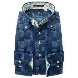 国産綿100%長袖ドレスシャツ ボタンダウン コンフォート ネイビー 紺 ジャガード織柄 モザイクチェック 和柄 胸ポケット有