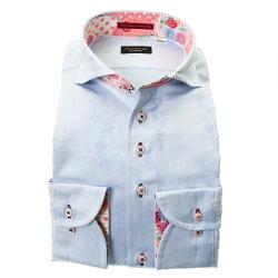 国産長袖綿100%ドレスシャツ カッタウェイワイド コンフォート 水色 スカイブルー ジャガード織柄 花 蝶 ストライプ 胸ポケット有