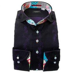 国産長袖綿100%ドレスシャツ カッタウェイワイド コンフォート ダークパープル 紫 ジャガード織柄 花 蝶 ストライプ 胸ポケット有