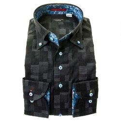 国産綿100%長袖ドレスシャツ ボタンダウン コンフォート ブラック 黒 ジャガード織柄 モザイクチェック 和柄 胸ポケット有