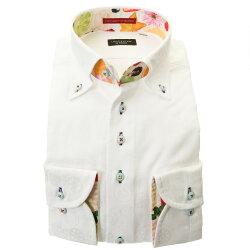 国産綿100%長袖ドレスシャツ ボタンダウン コンフォート ホワイト 白 ジャガード リングパターン 断面 野菜 胸ポケット有