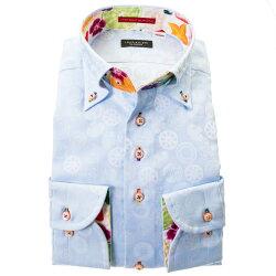 国産綿100%長袖ドレスシャツ ボタンダウン コンフォート スカイブルー 水色 ジャガード リングパターン 断面 野菜 胸ポケット有