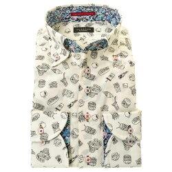 国産長袖綿100%ドレスシャツ ボタンダウン コンフォート 着丈短め 白 アイボリー アメリカ ポップ ハンバーガー プリント 胸ポケット有