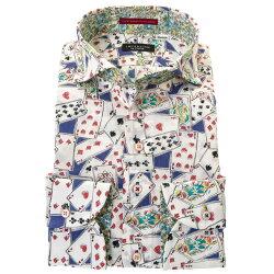 国産長袖綿100%ドレスシャツ カッタウェイ ワイドカラー コンフォート 着丈短め  トランプ 青 赤 プリント 胸ポケット有