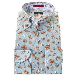 国産長袖綿100%ドレスシャツ ボタンダウン コンフォート 着丈短め  くすみブルー アメリカ ポップ ハンバーガー プリント 胸ポケット有