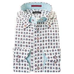国産長袖綿100%ドレスシャツ ボタンダウン コンフォート 着丈短め  ホワイト アラベスク ダイヤ ドット プリント 胸ポケット有