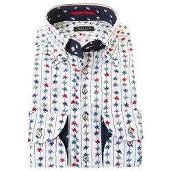 国産長袖綿100%ドレスシャツ ボタンダウン コンフォート 着丈短め  ホワイト カットジャガードリーフ ストライプ 睡蓮 花 プリント 胸ポケット有