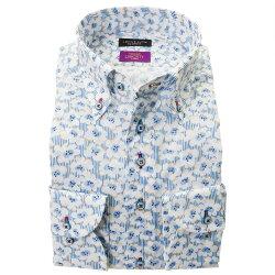 リバティプリント コットンタナローン 国産長袖ドレスシャツ ボタンダウン  着丈短め デッキチェア・デイズ タナローン 水色 スカイブルー ホワイト 胸ポケット無