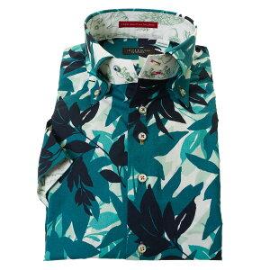 国産 半袖 綿100% ドレスシャツ コンフォート 胸ポケット無 着丈短め ドゥエボットーニボタンダウン プリント グリーン リーフ 迷彩柄風メンズ