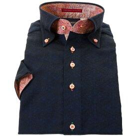 国産 半袖 綿100% ドレスシャツ コンフォート ボタンダウン 濃紺 ジャガード織 花菱 菱形文様 和柄 着丈短め 胸ポケット無 メンズ
