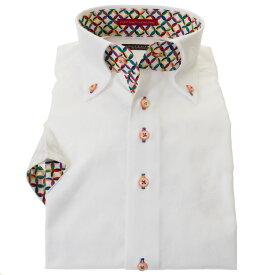国産半袖綿100%ドレスシャツ コンフォート ボタンダウン ホワイト 胸ポケット無 ジャガード織柄 スポーツモチーフ 球技 メンズ