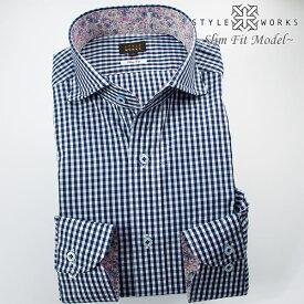 1702 国産綿100長袖ドレスシャツ スリムフィット ネイビーブルーギンガムチェック カッタウェイワイドカラーメンズ fs3gm