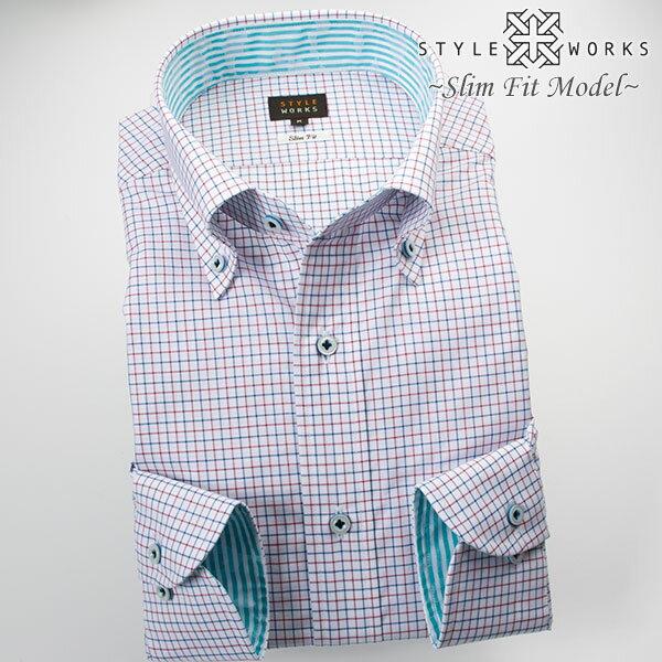 1703 国産長袖綿100ドレスシャツ スリムフィット トリコロール・タッタソールチェック ボタンダウンカラーメンズ fs3gm