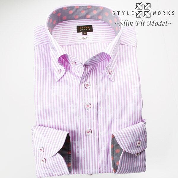 1707 国産綿100長袖ドレスシャツ スリムフィット ボタンダウン パープルロンドンストライプ ジャガード迷彩柄メンズ fs3gm