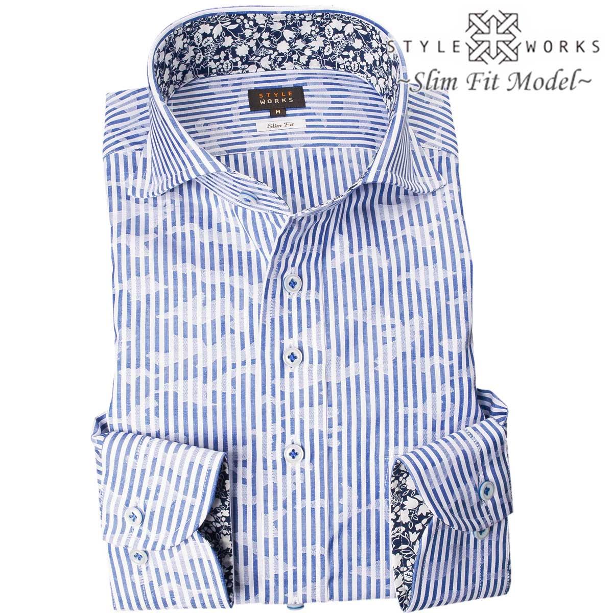 1710 国産綿100長袖ドレスシャツ スリムフィット カッタウェイワイドカラー ブルーロンドンストライプ ジャガード迷彩柄メンズ fs3gm